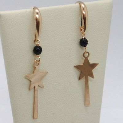 "925 STERLING ROSE SILVER ""LE FAVOLE"" PENDANT EARRINGS, STAR, MAGIC WAND, TALE"