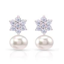 Genuine Freshwater Pearl and CZ Cluster Bridal Stud  Earrings in 925 Ste... - $35.00