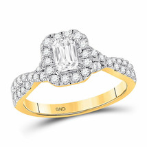 14kt Yellow Gold Emerald Diamond Solitaire Bridal Wedding Engagement Rin... - £2,063.20 GBP