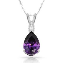 3.05 CT Amethyst Pear Shape 2 Stone Gemstone Pendant & Necklace 14K W Gold - $147.51