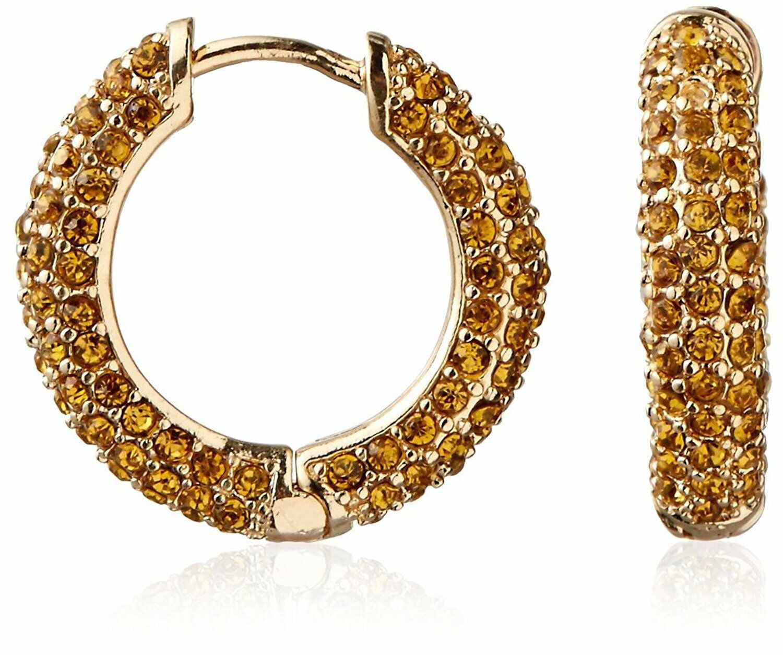 Cohesive Jewels Pavé Amarillo Cristal Oro Aro Pendientes Con Bisagra Cierre Nwt