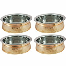 Steel Copper Srt of 4 Dish Serving Indian Food Daal Curry Handi Bowl Res... - $82.93
