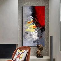 Red Black Yellow Abstract Large Canvas Oil Painting Art Decor  - $115.69+