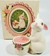 Vintage Avon Bunny Bright Ceramic Candle Holder 1980. Original box. - $12.86