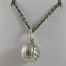 Collar de Plata 925 Pulido con Colgante a Bola de Voleibol Hecho en Italia - $157.76