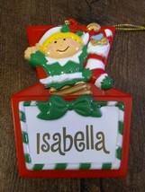 Stravina Elf Santa's Helper Isabella Package Tag Personalized Hanging Or... - $29.35