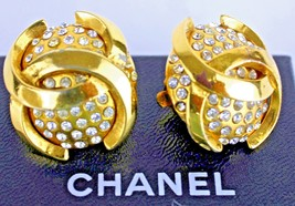 Auth Chanel CC logo Gold Plated & Crystal Clip-on Ear rings accessories France - $236.65