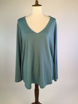 Melissa Paige Womens Blouse Top 3X 26W Blue V-Neck Long Sleeves B18-08 - $11.52