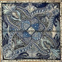 Hermes Scarf Stole Le Jardin de la Maharani Annie Faivre Silk Navy Blue ... - $677.82