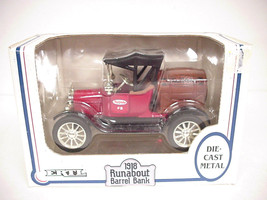 Ertl 1918 Runabout Barrel Bank 9623, Die-cast Metal Barrel with Wood detail - $17.81