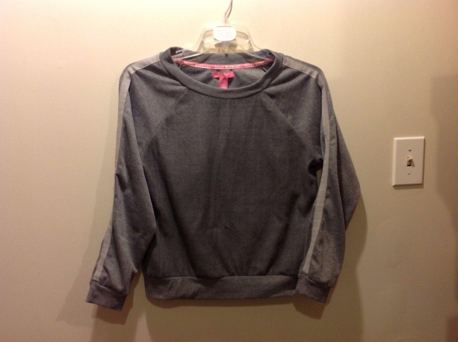 Isaac Mizrahi Gray Pullover Sweatshirt w Lt Gray Striped Sleeves Sz LG