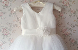Cute White Tulle A-line Girl Dress Custom Wedding Flower girl Dress Custom  image 4