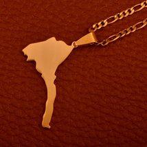 Anniyo Eritrea Map Pendant Figaro Chain for Women/Men Gold Color Jewelry Africa  image 4