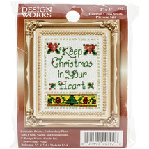"""Design Works Counted Cross Stitch Kit 2""""X3""""-Christmas In Your Heart (18 Count) - $11.08"""