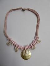 Tropicalia Multi layer Beaded Pink Necklace Pendant Sea Theme Shell Boho... - $3.47