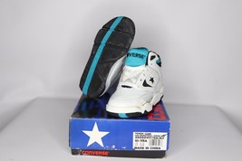 Vtg 90s New Converse Youth 10.5 Power Game Lea Mid Basketball Shoes Whit... - $50.44