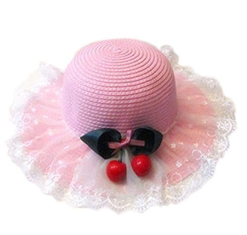 Summer Fashion Sun Hat For Kids With Bowknot Decor&Lace Pink