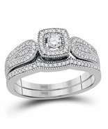 10kt White Gold Round Diamond Bridal Wedding Engagement Ring Set 1/3 Ctw - £471.84 GBP