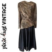 Vintage Dress 70s 1970s Disco Gold Leopard Print Retro Bronze Shiny Size... - $46.65