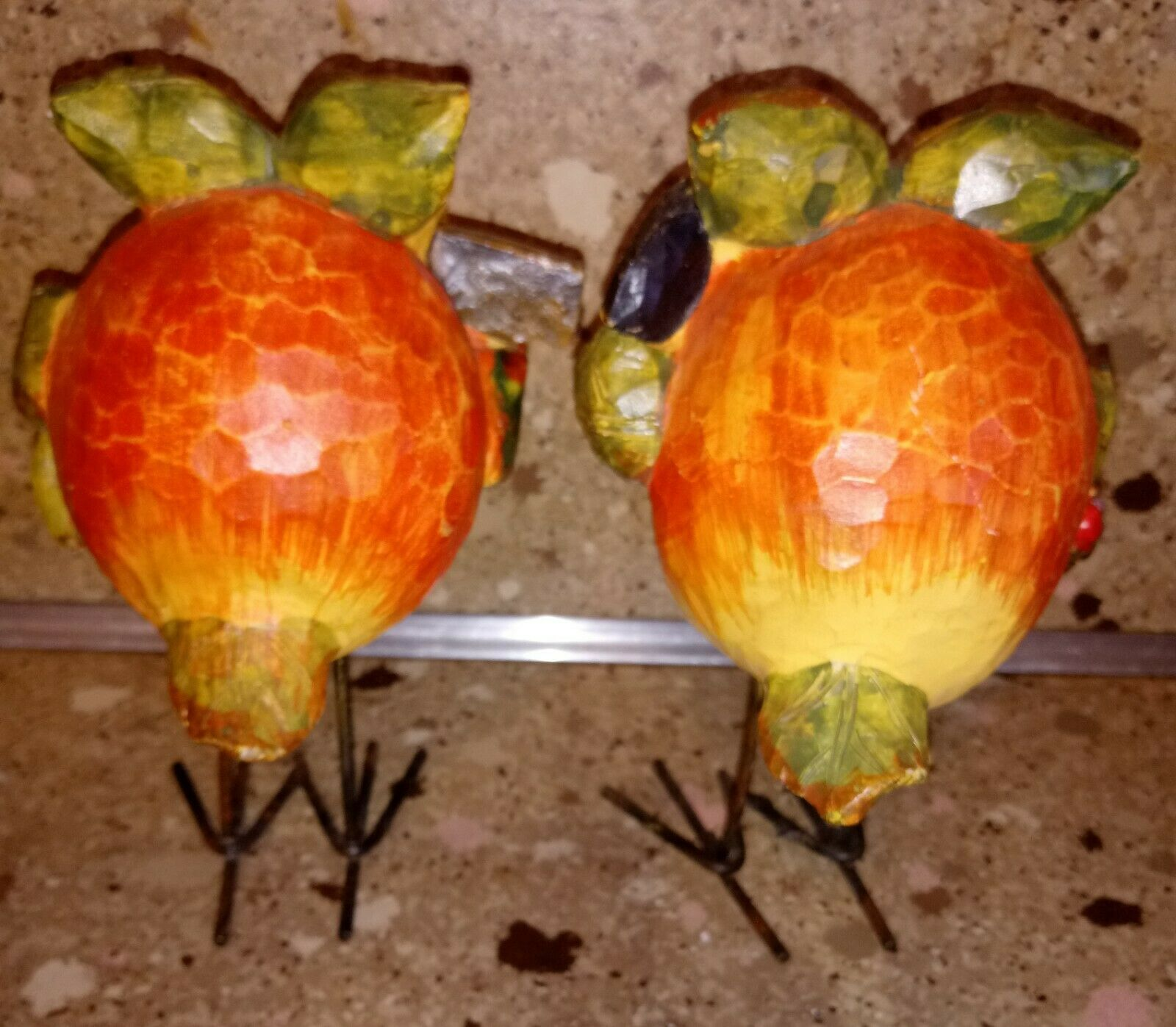 Set of 2 Owl Figurines Thanksgiving Fall Harvest Decor 5""