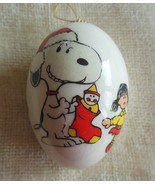 Vintage Snoopy Christmas Plastic Egg Ornament 1983 - $17.81