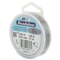 "Beadalon 49-Strand 0.024"" 0.61 mm 100 ft 30.5 m Bright Bead Stringing Wire"