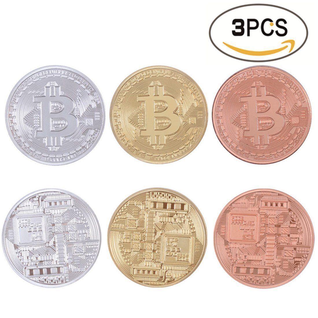 Commemorative Collectible Bitcoin Set - 3 Pieces Total w/Random Color and Design