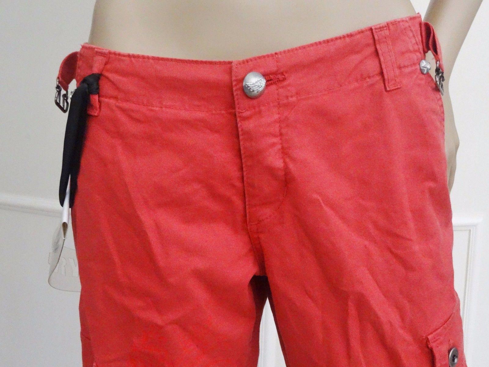 New Crystal Rock Christian Audigier Hippie Wide Leg Jeans Pants Sz 27 4 Red
