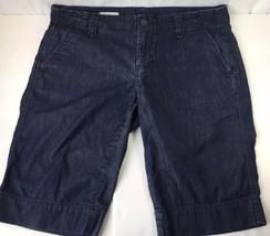 GAP 1969 Bermuda Denim Jean Shorts Dark Wash Low Rise Cotton Chino Women... - $9.74