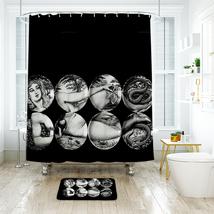 Art Face Shower Curtain Waterproof Polyester Fabric & Bath Mat For Bathroom - $16.30+