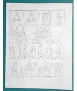 ANCIENT PEOPLE Goths Romans Men Women in Chariots Camels - 1828 Antique ... - $14.40