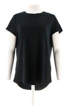 Isaac Mizrahi Pima Cotton Curved Hem T-Shirt Black 3X NEW A288195 - $22.75