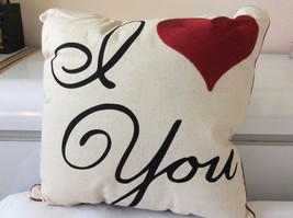 I Love You Decorative Pillow, Embroidered Heart with Red Bias. Black Let... - $29.00