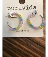 PURA VIDA BEADED FLOWER HOOP EARRINGS NWT - $18.80