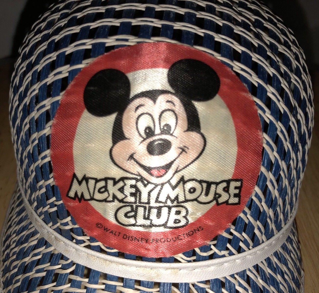 Vintage MICKEY MOUSE CLUB 60s 70s Hat Pom Pom Woven WALT DISNEY PRODUCTIONS  RARE dbceeb446fa7
