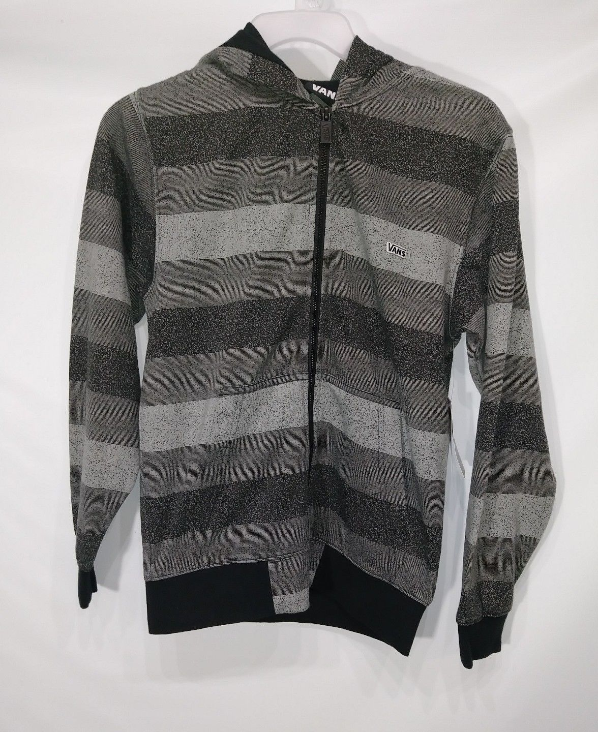 VANS BOYS STRIPED HOODIE FLEECE ZIPUP SWEATER GRAY SIZE SMALL LUKAY RETAIL $60