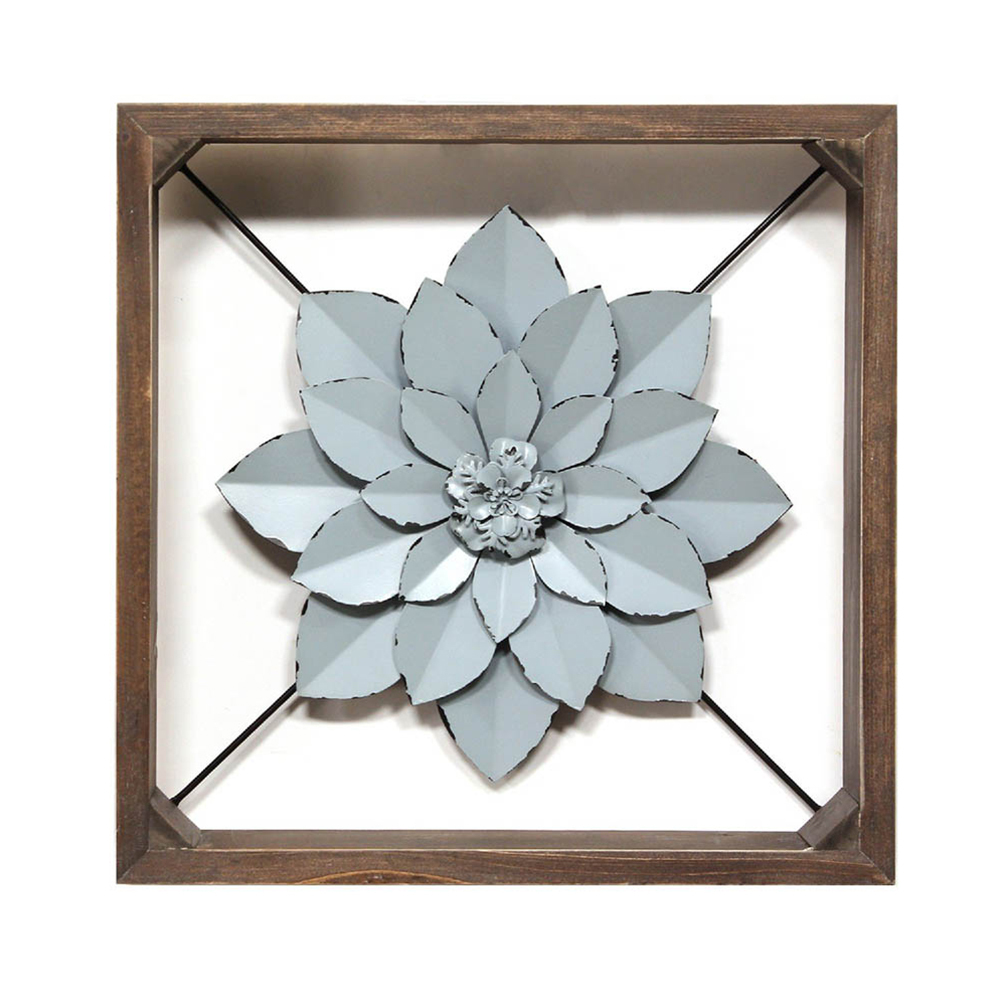 Primary image for Stratton Home Decor Handcrafted Blue Framed Metal Flower Wall Art