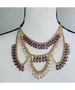 Charlotte Russe Gold Tone & Purple Necklace Multi Strand Boho Festival J... - $19.99
