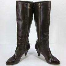 """Mk Michael Kors Brown Knee High Inside Zip Boots Women's 6.5M Us 3"""" Heel Burnish - $75.73"""