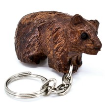 Hand Carved Ironwood Wood Folk Art 3D Brown Bear Country Rustic Theme Keychain