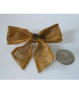 """Vintage 30's Mesh Bow Brooch Pin Gilt Gold On Brass 3"""" Celluloid 40's - $19.79"""