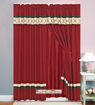 4P Embroidery Casablanca Trellis Moroccan Curtain Set Burgundy Brown Tan... - $40.89