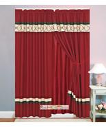 4P Embroidery Casablanca Trellis Moroccan Curtain Set Burgundy Brown Tan... - $40.89