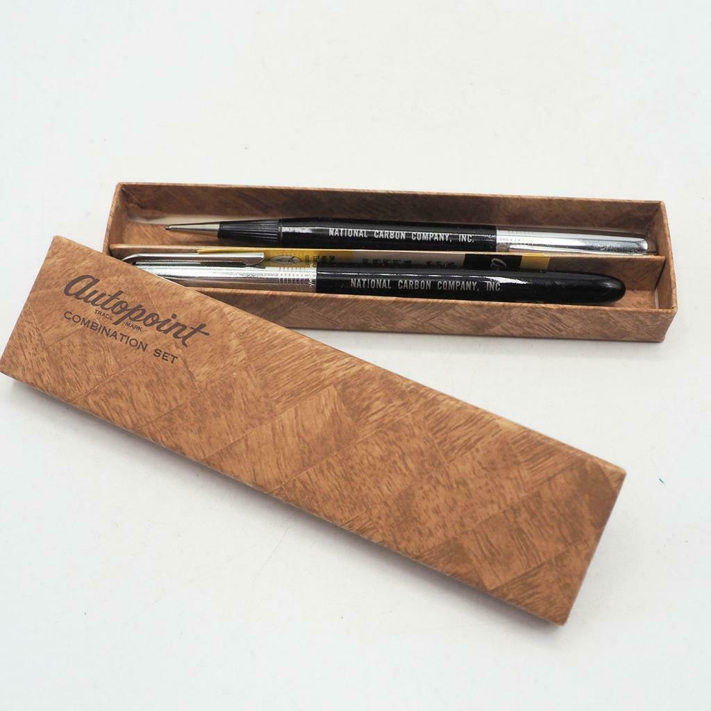 Vintage Set of 2 Autopoint Mechanical Pencil Pen National Carbon Company w/ Box - $34.64