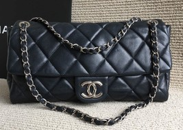 100% Authentic Chanel Navy Soft Caviar Leather XL Maxi Timeless Flap Bag SHW