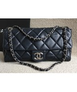100% Authentic Chanel Navy Soft Caviar Leather XL Maxi Timeless Flap Bag... - $2,199.99