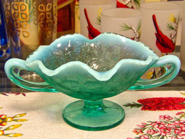 Fenton Three Fruits Teal Green Turquoise Compote Bowl With Handles - $24.70