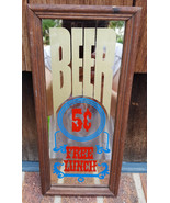 """Vtg BEER 5 cents Mirror-Free Lunch-11""""x5""""-Bar/Pub-Wood Frame-Alcohol Booze - $28.04"""