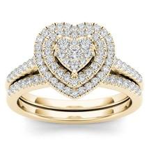IGI Certified 0.50 Ct 14K Yellow Gold Diamond Heart Shaped Engagement Ri... - $1,029.99