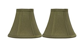 Urbanest Set of 2 Olive Green Silk Bell Chandelier Lamp Shade, 3-inch by... - $15.83